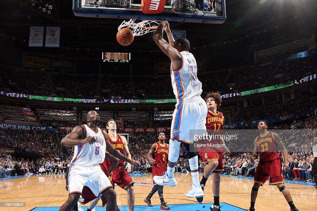 <a gi-track='captionPersonalityLinkClicked' href=/galleries/search?phrase=Kevin+Durant&family=editorial&specificpeople=3847329 ng-click='$event.stopPropagation()'>Kevin Durant</a> #35 of the Oklahoma City Thunder dunks the ball vs the Cleveland Cavaliers during an NBA game on November 11, 2012 at the Chesapeake Energy Arena in Oklahoma City, Oklahoma.