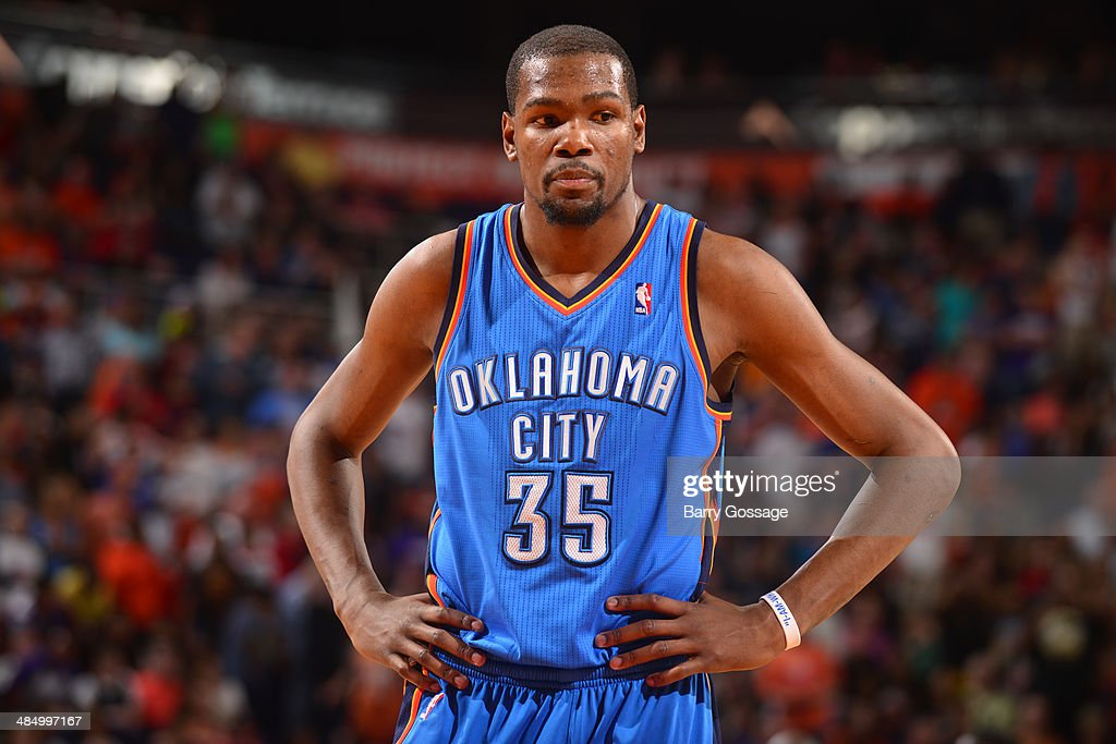 <a gi-track='captionPersonalityLinkClicked' href=/galleries/search?phrase=Kevin+Durant&family=editorial&specificpeople=3847329 ng-click='$event.stopPropagation()'>Kevin Durant</a> #35 of the Oklahoma City Thunder during a game against the Phoenix Suns on April 6, 2014 at U.S. Airways Center in Phoenix, Arizona.