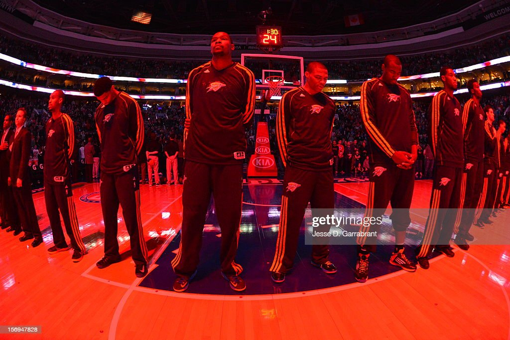 Kevin Durant #35 of the Oklahoma City Thunder during the national anthem before the game against the Philadelphia 76ers at the Wells Fargo Center on November 24, 2012 in Philadelphia, Pennsylvania.