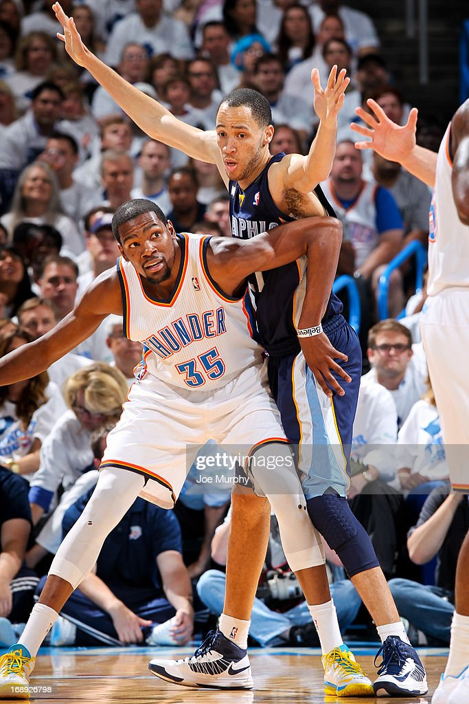 Kevin Durant #35 of the Oklahoma City Thunder fights for position against Tayshaun Prince #21 of the Memphis Grizzlies in Game Five of the Western Conference Semifinals during the 2013 NBA Playoffs on May 15, 2013 at the Chesapeake Energy Arena in Oklahoma City, Oklahoma.
