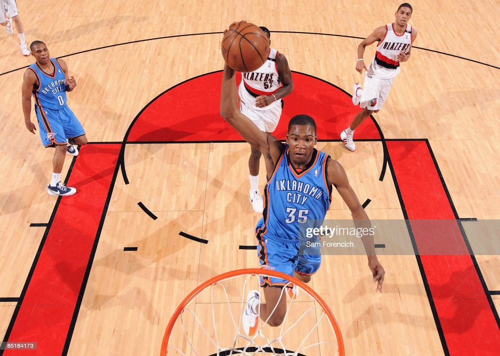 Kevin Durant of the Oklahoma City Thunder goes for the dunk against the Portland Trail Blazers during the game on February 11 2009 at the Rose Garden...