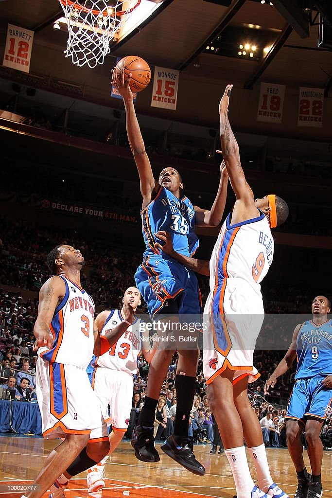 Kevin Durant #35 of the Oklahoma City Thunder goes to the basket against Tracy McGrady #3, Sergio Rodriguez #13 and Jonathan Bender #9 of the New York Knicks during the game on February 20, 2010 at Madison Square Garden in New York City. The Thunder won 121-118 in overtime.
