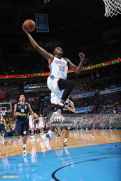 Kevin Durant of the Oklahoma City Thunder goes to the basket against Fenerbahce during a preseason game on October 9 2015 at Chesapeake Energy Arena...