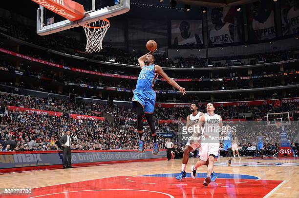 Kevin Durant of the Oklahoma City Thunder goes to the basket against the Los Angeles Clippers on December 21 2015 at STAPLES Center in Los Angeles...