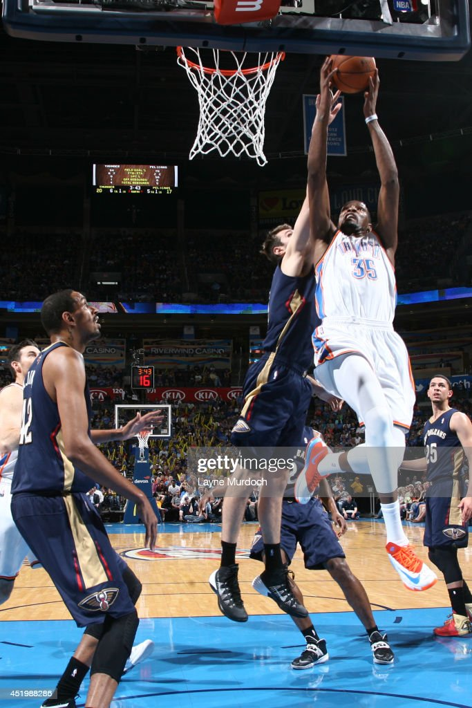 <a gi-track='captionPersonalityLinkClicked' href=/galleries/search?phrase=Kevin+Durant&family=editorial&specificpeople=3847329 ng-click='$event.stopPropagation()'>Kevin Durant</a> #35 of the Oklahoma City Thunder goes up for a shot against the New Orleans Pelicans on April 11, 2014 at the Chesapeake Energy Arena in Oklahoma City, Oklahoma.