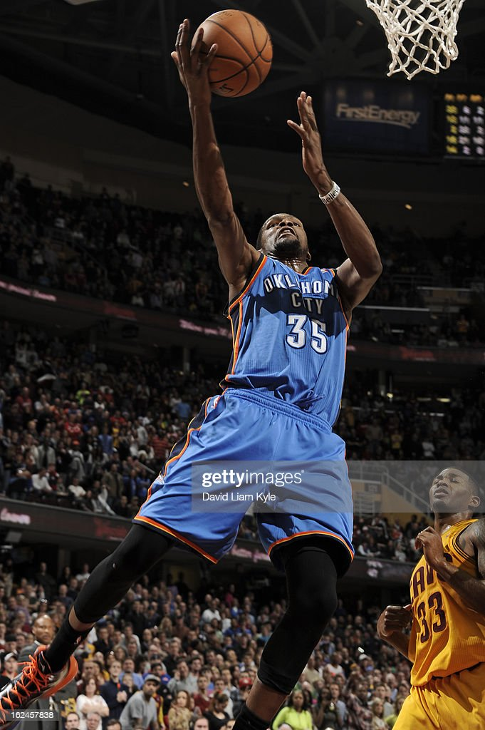 Kevin Durant #35 of the Oklahoma City Thunder goes up strong to the basket against the Cleveland Cavaliers at The Quicken Loans Arena on February 2, 2013in Cleveland, Ohio.