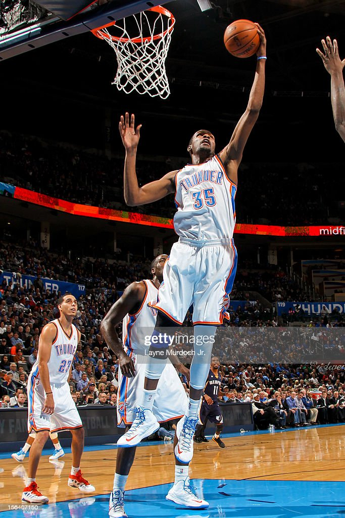 <a gi-track='captionPersonalityLinkClicked' href=/galleries/search?phrase=Kevin+Durant&family=editorial&specificpeople=3847329 ng-click='$event.stopPropagation()'>Kevin Durant</a> #35 of the Oklahoma City Thunder grabs a rebound against the Memphis Grizzlies on November 14, 2012 at the Chesapeake Energy Arena in Oklahoma City, Oklahoma.