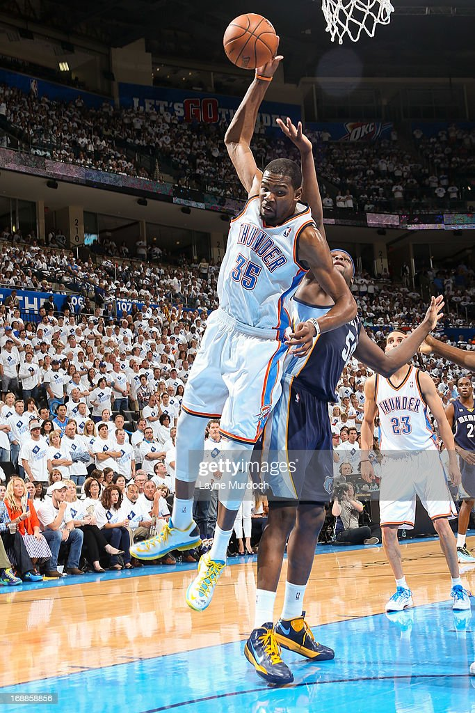 Kevin Durant #35 of the Oklahoma City Thunder grabs a rebound against the Memphis Grizzlies in Game Five of the Western Conference Semifinals during the 2013 NBA Playoffs on May 15, 2013 at the Chesapeake Energy Arena in Oklahoma City, Oklahoma.