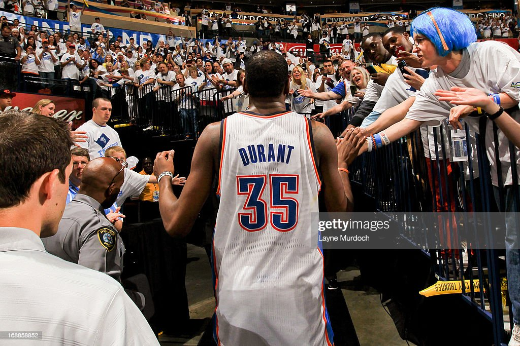 Kevin Durant #35 of the Oklahoma City Thunder greets fans following his team's series loss to the Memphis Grizzlies in Game Five of the Western Conference Semifinals during the 2013 NBA Playoffs on May 15, 2013 at the Chesapeake Energy Arena in Oklahoma City, Oklahoma.