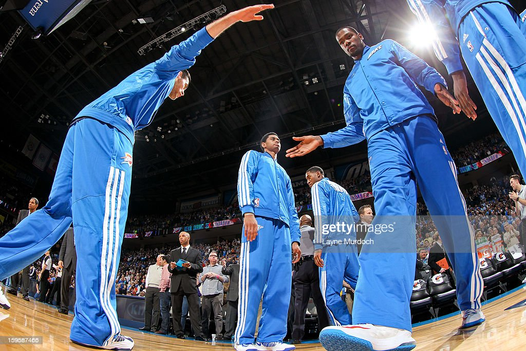 Kevin Durant #35 of the Oklahoma City Thunder greets teammates before playing against the Denver Nuggets on January 16, 2013 at the Chesapeake Energy Arena in Oklahoma City, Oklahoma.