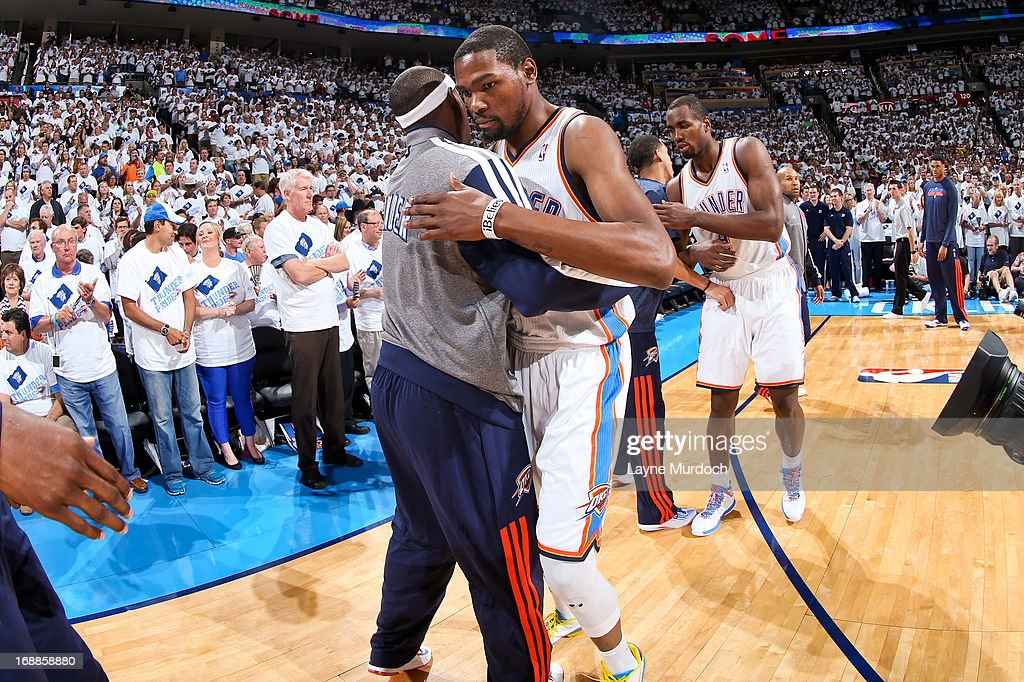 Kevin Durant #35 of the Oklahoma City Thunder greets teammates before playing the Memphis Grizzlies in Game Five of the Western Conference Semifinals during the 2013 NBA Playoffs on May 15, 2013 at the Chesapeake Energy Arena in Oklahoma City, Oklahoma.