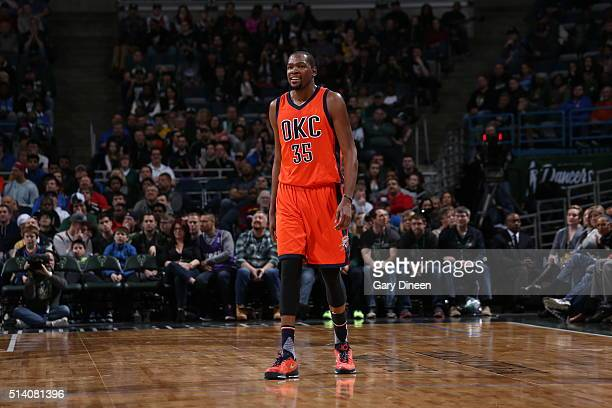 Kevin Durant of the Oklahoma City Thunder hais seen during the game against the Milwaukee Bucks on March 6 2016 at the BMO Harris Bradley Center in...