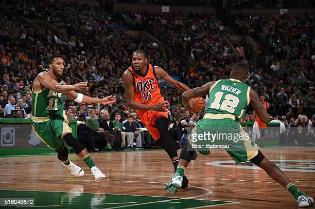 Kevin Durant of the Oklahoma City Thunder handles the ball against the Boston Celtics on March 16 2016 at the TD Garden in Boston Massachusetts NOTE...