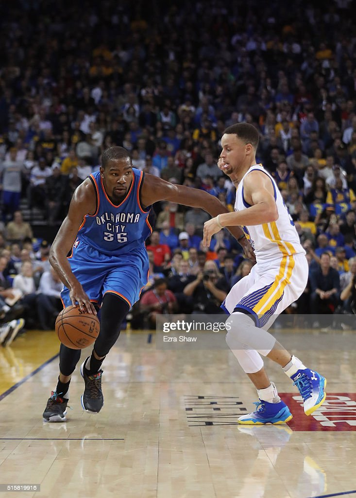 Kevin durant 35 of the oklahoma city thunder is guarded by stephen