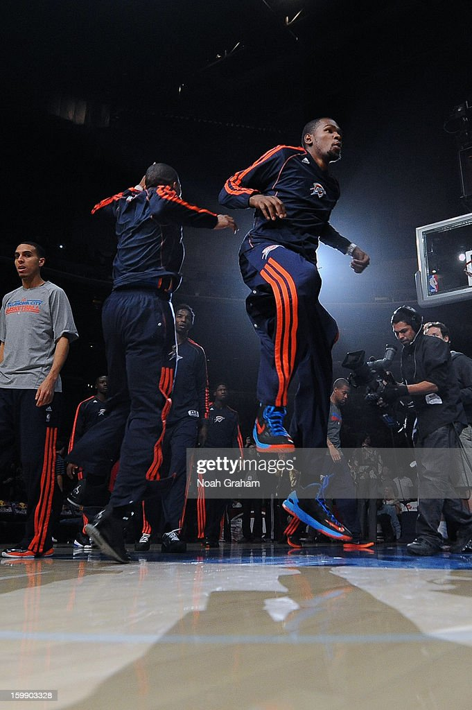 Kevin Durant #35 of the Oklahoma City Thunder is introduced in the starting lineup against the Los Angeles Clippers at Staples Center on January 22, 2013 in Los Angeles, California.