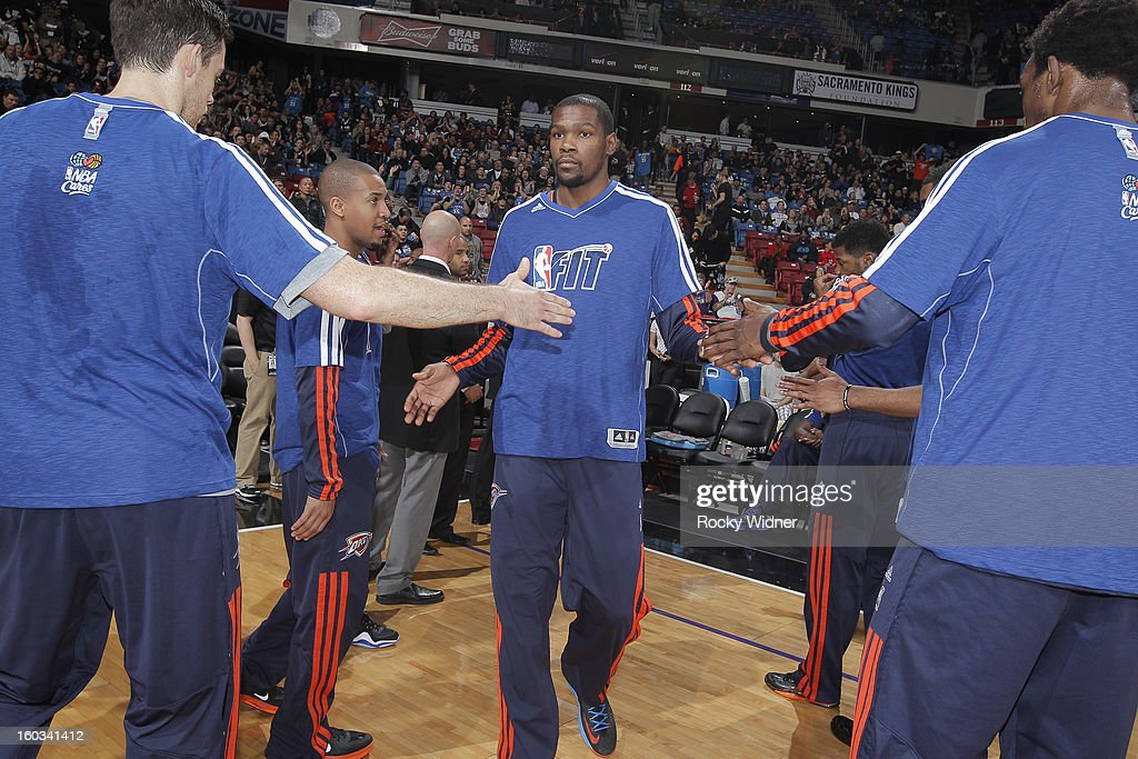 <a gi-track='captionPersonalityLinkClicked' href=/galleries/search?phrase=Kevin+Durant&family=editorial&specificpeople=3847329 ng-click='$event.stopPropagation()'>Kevin Durant</a> #35 of the Oklahoma City Thunder is introduced into the starting lineup against the Sacramento Kings on January 25, 2013 at Sleep Train Arena in Sacramento, California.