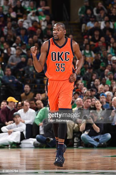 Kevin Durant of the Oklahoma City Thunder is seen during the game against the Boston Celtics on March 16 2016 at the TD Garden in Boston...