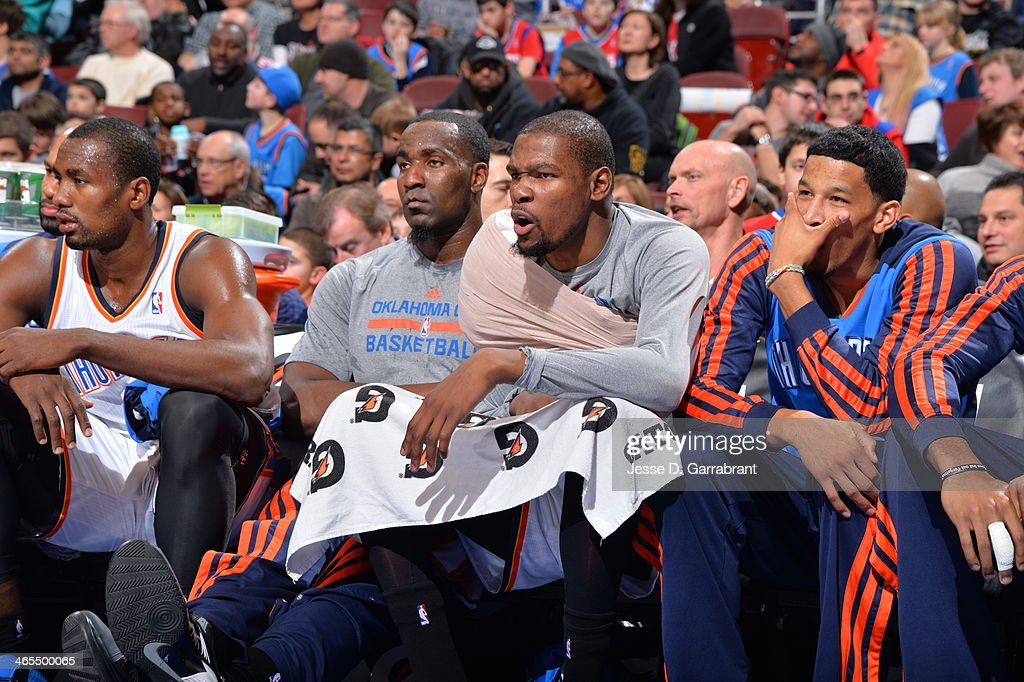 <a gi-track='captionPersonalityLinkClicked' href=/galleries/search?phrase=Kevin+Durant&family=editorial&specificpeople=3847329 ng-click='$event.stopPropagation()'>Kevin Durant</a> #35 of the Oklahoma City Thunder looks on against the Philadelphia 76ers at the Wells Fargo Center on January 25, 2014 in Philadelphia, Pennsylvania.