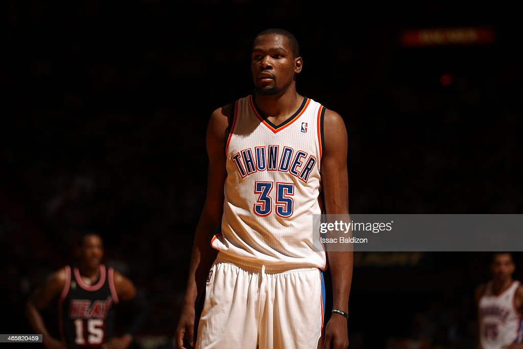 <a gi-track='captionPersonalityLinkClicked' href=/galleries/search?phrase=Kevin+Durant&family=editorial&specificpeople=3847329 ng-click='$event.stopPropagation()'>Kevin Durant</a> #35 of the Oklahoma City Thunder looks on against the Miami Heat at the American Airlines Arena in Miami, Florida on Jan. 29, 2014.