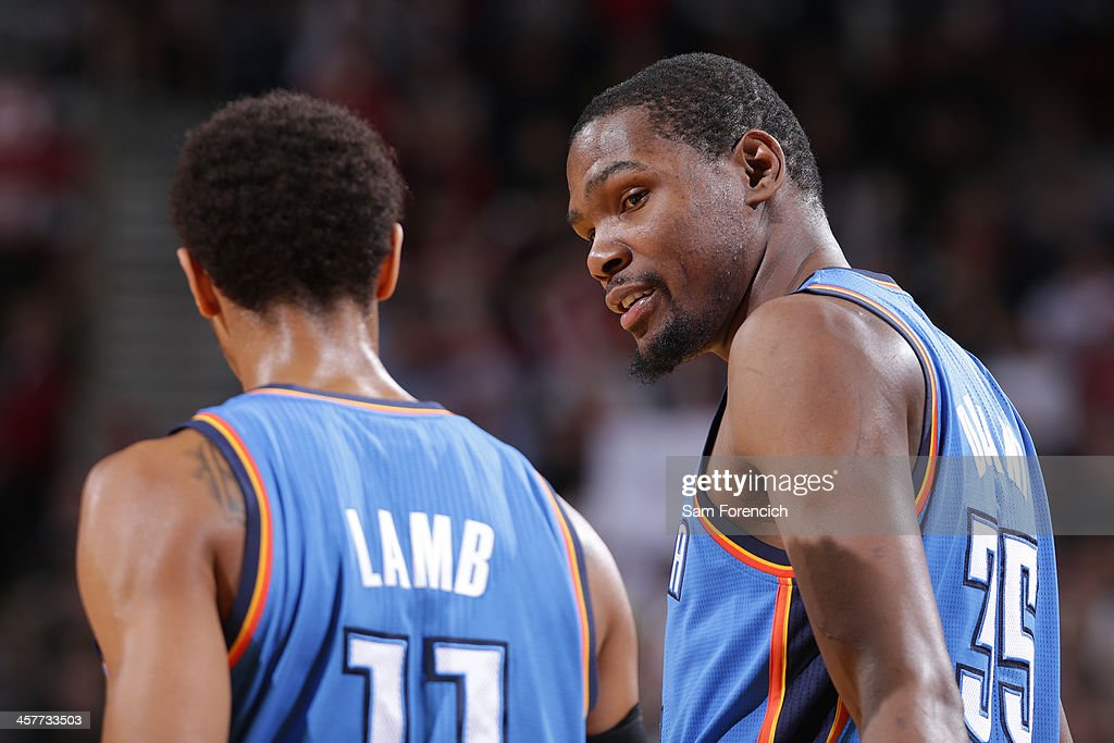 <a gi-track='captionPersonalityLinkClicked' href=/galleries/search?phrase=Kevin+Durant&family=editorial&specificpeople=3847329 ng-click='$event.stopPropagation()'>Kevin Durant</a> #35 of the Oklahoma City Thunder looks on during the game against the Portland Trail Blazers on December 4, 2013 at the Moda Center Arena in Portland, Oregon.