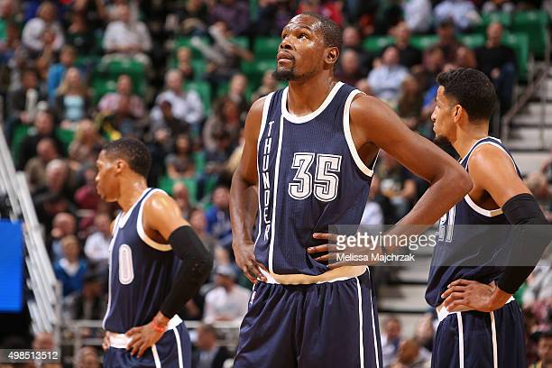 Kevin Durant of the Oklahoma City Thunder looks on during the game against the Utah Jazz on November 23 2015 at Vivint Smart Home Arena in Salt Lake...