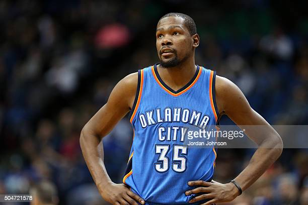 Kevin Durant of the Oklahoma City Thunder looks on during the game against the Minnesota Timberwolves on January 12 2016 at Target Center in...