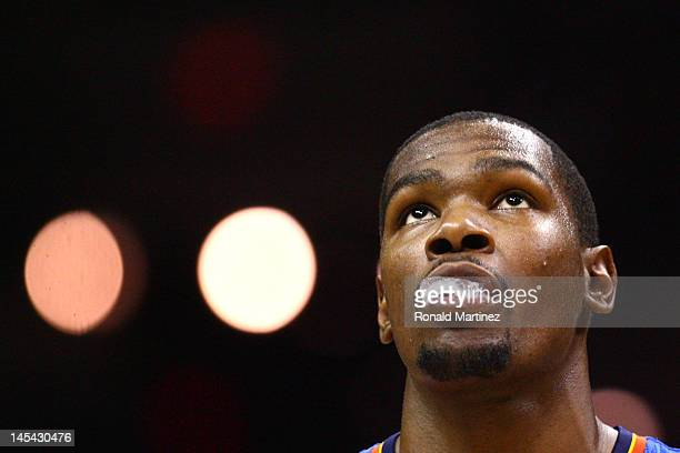 Kevin Durant of the Oklahoma City Thunder looks on in the second quarter while taking on the San Antonio Spurs in Game Two of the Western Conference...