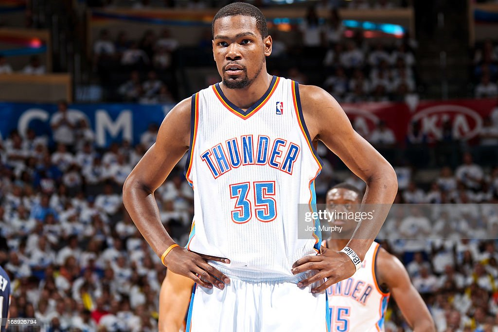 Kevin Durant #35 of the Oklahoma City Thunder looks on while playing against the Memphis Grizzlies in Game Five of the Western Conference Semifinals during the 2013 NBA Playoffs on May 15, 2013 at the Chesapeake Energy Arena in Oklahoma City, Oklahoma.
