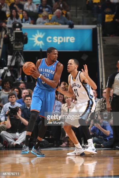 Kevin Durant of the Oklahoma City Thunder looks to pass the ball against the Memphis Grizzlies in Game Six of the Western Conference Quarterfinals...