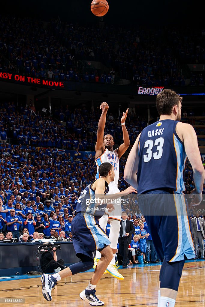 Kevin Durant #35 of the Oklahoma City Thunder makes a go-ahead shot late in the fourth quarter, leading to the team's victory, against Tayshaun Prince #21 of the Memphis Grizzlies in Game One of the Western Conference Semifinals during the 2013 NBA Playoffs on May 5, 2013 at the Chesapeake Energy Arena in Oklahoma City, Oklahoma.