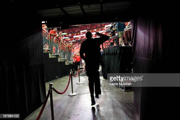 Kevin Durant of the Oklahoma City Thunder makes his way out to the court to play the Houston Rockets in Game Six of the Western Conference...