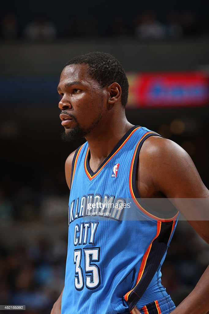 <a gi-track='captionPersonalityLinkClicked' href=/galleries/search?phrase=Kevin+Durant&family=editorial&specificpeople=3847329 ng-click='$event.stopPropagation()'>Kevin Durant</a> #35 of the Oklahoma City Thunder on the court against the Memphis Grizzlies in Game Six of the Western Conference Quarterfinals during the 2014 NBA Playoffs on May 3, 2014 at FedExForum in Memphis, Tennessee.