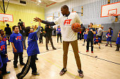 Kevin Durant of the Oklahoma City Thunder participates in NBA Cares/FIT Day of Service at PS 059 Beekman Hill International during the 2015 NBA...