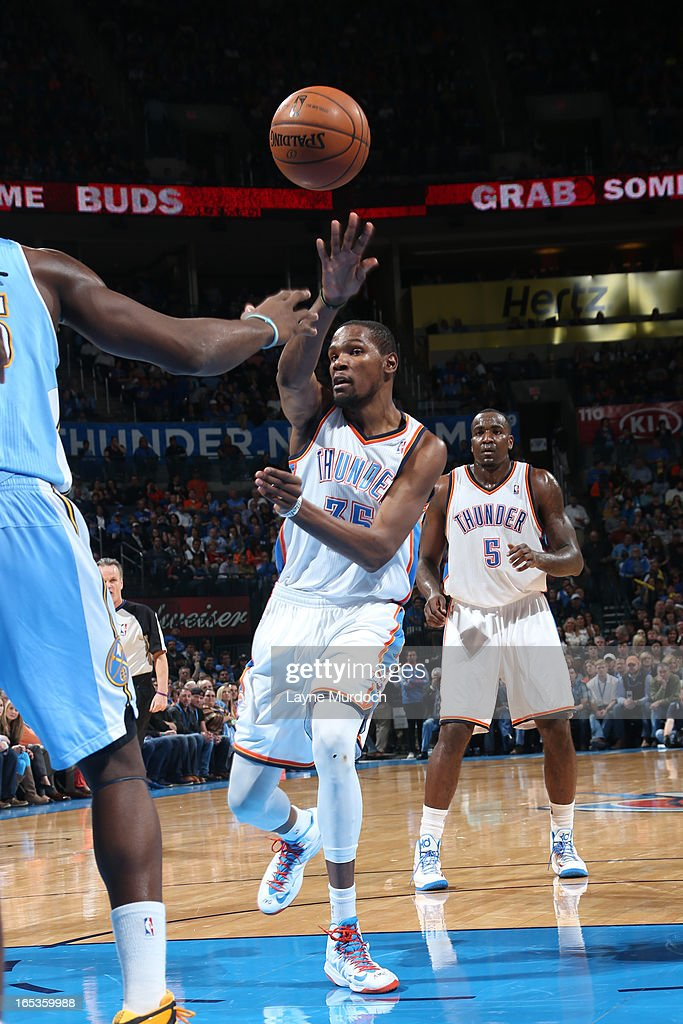 Kevin Durant #35 of the Oklahoma City Thunder passes the ball against the Denver Nuggets on March 19, 2013 at the Chesapeake Energy Arena in Oklahoma City, Oklahoma.