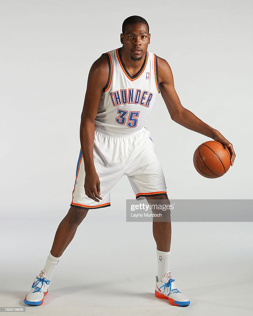 Kevin Durant #35 of the Oklahoma City Thunder poses for a portrait during 2012 NBA Media Day on October 1, 2012 at the Thunder Events Center in Edmond, Oklahoma.