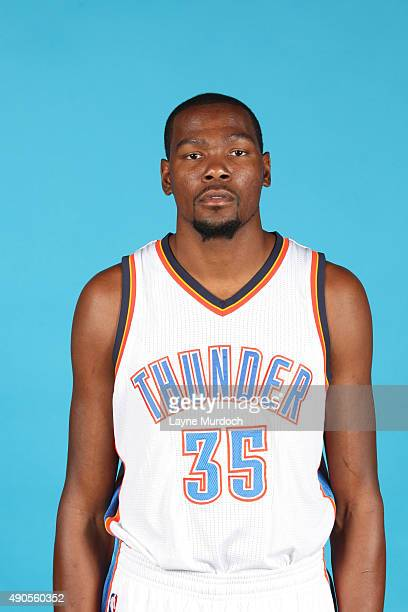Kevin Durant of the Oklahoma City Thunder poses for a portrait during 2015 NBA Media Day on September 28 2015 at the Thunder Events Center in Edmond...