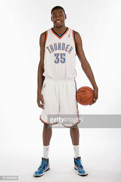 Kevin Durant of the Oklahoma City Thunder poses for a portrait during 2009 NBA Media Day on September 28 2009 at the Cox Convention Center in...