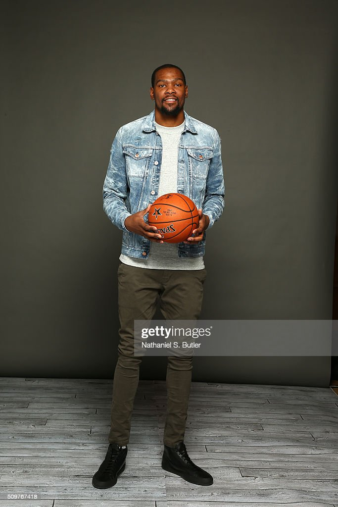 Kevin Durant #35 of the Oklahoma City Thunder poses for a portrait on February 11, 2016 at the Sheraton Centre as part of 2016 NBA All-Star Weekend in Toronto, Ontario Canada.
