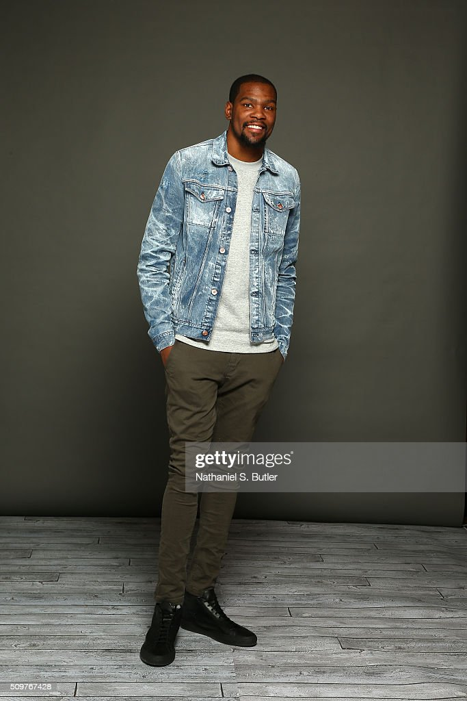 Kevin Durant #35 of the Oklahoma City Thunder poses for a portrait on February 12, 2016 at the Sheraton Centre as part of 2016 NBA All-Star Weekend in Toronto, Ontario Canada.