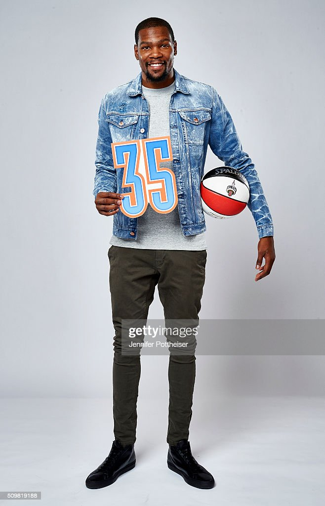 <a gi-track='captionPersonalityLinkClicked' href=/galleries/search?phrase=Kevin+Durant&family=editorial&specificpeople=3847329 ng-click='$event.stopPropagation()'>Kevin Durant</a> #35 of the Oklahoma City Thunder poses for a portrait with the twitter emoji during NBA All-Star Weekend on February 12, 2016 at the Sheraton Centre in Toronto, Ontario Canada.
