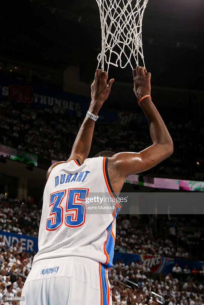 Kevin Durant #35 of the Oklahoma City Thunder pulls on the net while playing the Memphis Grizzlies in Game Five of the Western Conference Semifinals during the 2013 NBA Playoffs on May 15, 2013 at the Chesapeake Energy Arena in Oklahoma City, Oklahoma.