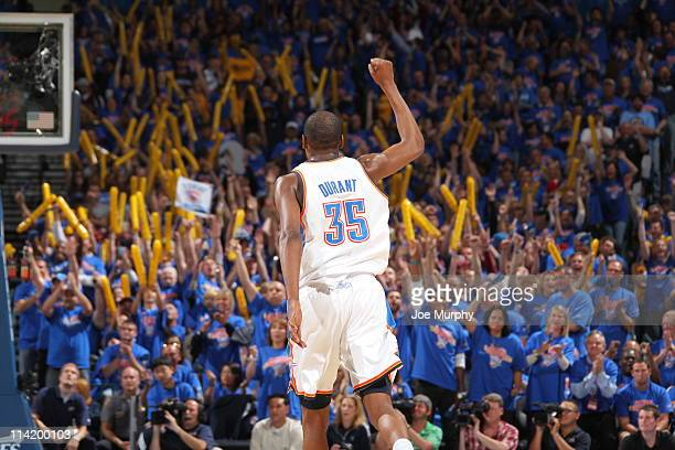 Kevin Durant of the Oklahoma City Thunder reacts after a play against the Memphis Grizzlies during Game Seven of the Western Conference Semifinals in...