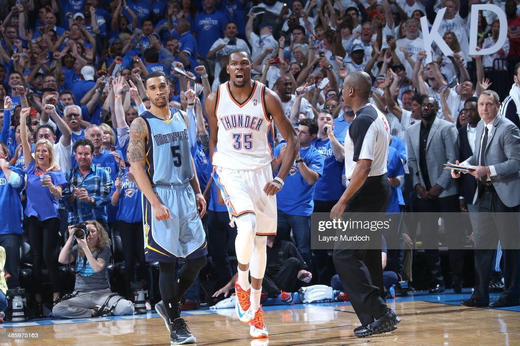 <a gi-track='captionPersonalityLinkClicked' href=/galleries/search?phrase=Kevin+Durant&family=editorial&specificpeople=3847329 ng-click='$event.stopPropagation()'>Kevin Durant</a> #35 of the Oklahoma City Thunder reacts after a play against the Memphis Grizzlies. In Game Two of the Western Conference Quarterfinals of the NBA Playoffs at Chesapeake Energy Arena on April 21, 2014 in Oklahoma City, Oklahoma.