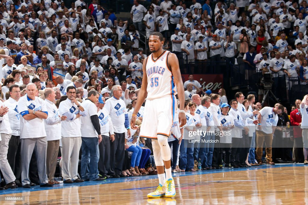 Kevin Durant #35 of the Oklahoma City Thunder reacts after missing the game-tying shot late in the fourth quarter against Tony Allen #9 of the Memphis Grizzlies in Game Five of the Western Conference Semifinals during the 2013 NBA Playoffs on May 15, 2013 at the Chesapeake Energy Arena in Oklahoma City, Oklahoma.