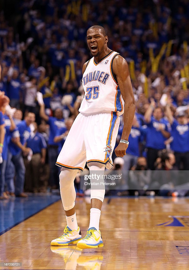 <a gi-track='captionPersonalityLinkClicked' href=/galleries/search?phrase=Kevin+Durant&family=editorial&specificpeople=3847329 ng-click='$event.stopPropagation()'>Kevin Durant</a> #35 of the Oklahoma City Thunder reacts after scoring against the Houston Rockets during Game One of the Western Conference Quarterfinals of the 2013 NBA Playoffs at Chesapeake Energy Arena on April 21, 2013 in Oklahoma City, Oklahoma. The Thunder defeated the Rockets 120-91.