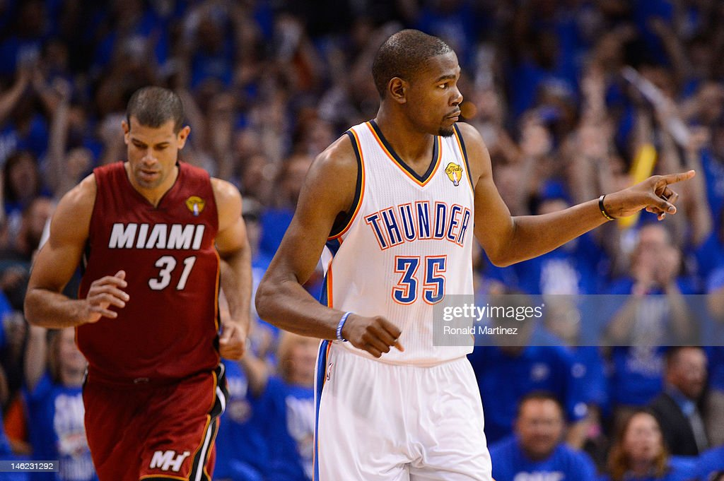 Kevin Durant #35 of the Oklahoma City Thunder reacts alongside Shane Battier #31 of the Miami Heat in the third quarter in Game One of the 2012 NBA Finals at Chesapeake Energy Arena on June 12, 2012 in Oklahoma City, Oklahoma.