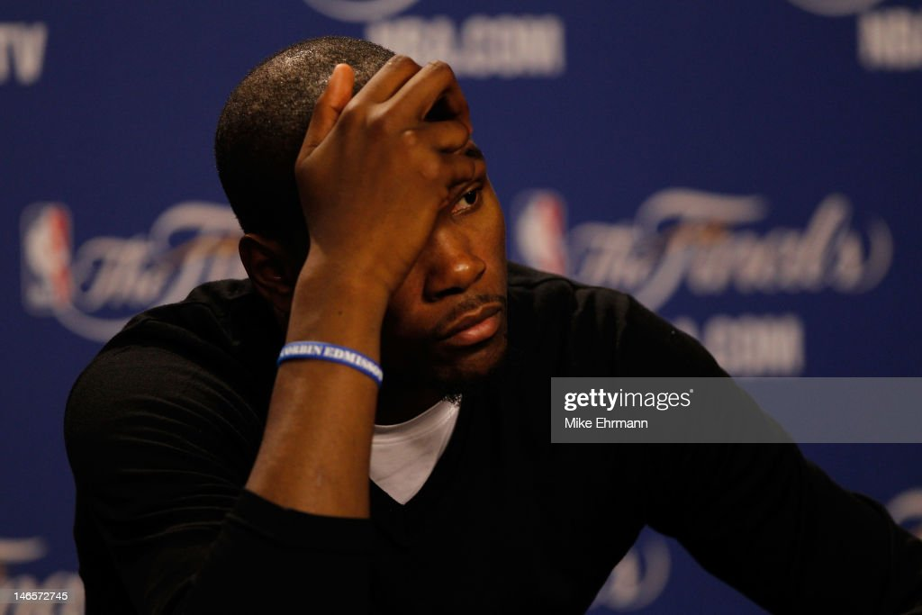 <a gi-track='captionPersonalityLinkClicked' href=/galleries/search?phrase=Kevin+Durant&family=editorial&specificpeople=3847329 ng-click='$event.stopPropagation()'>Kevin Durant</a> #35 of the Oklahoma City Thunder reacts during his post game press conference after they lost 104-98 against the Miami Heat in Game Four of the 2012 NBA Finals on June 19, 2012 at American Airlines Arena in Miami, Florida.