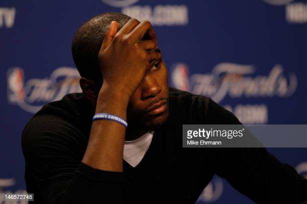 Kevin Durant of the Oklahoma City Thunder reacts during his post game press conference after they lost 10498 against the Miami Heat in Game Four of...