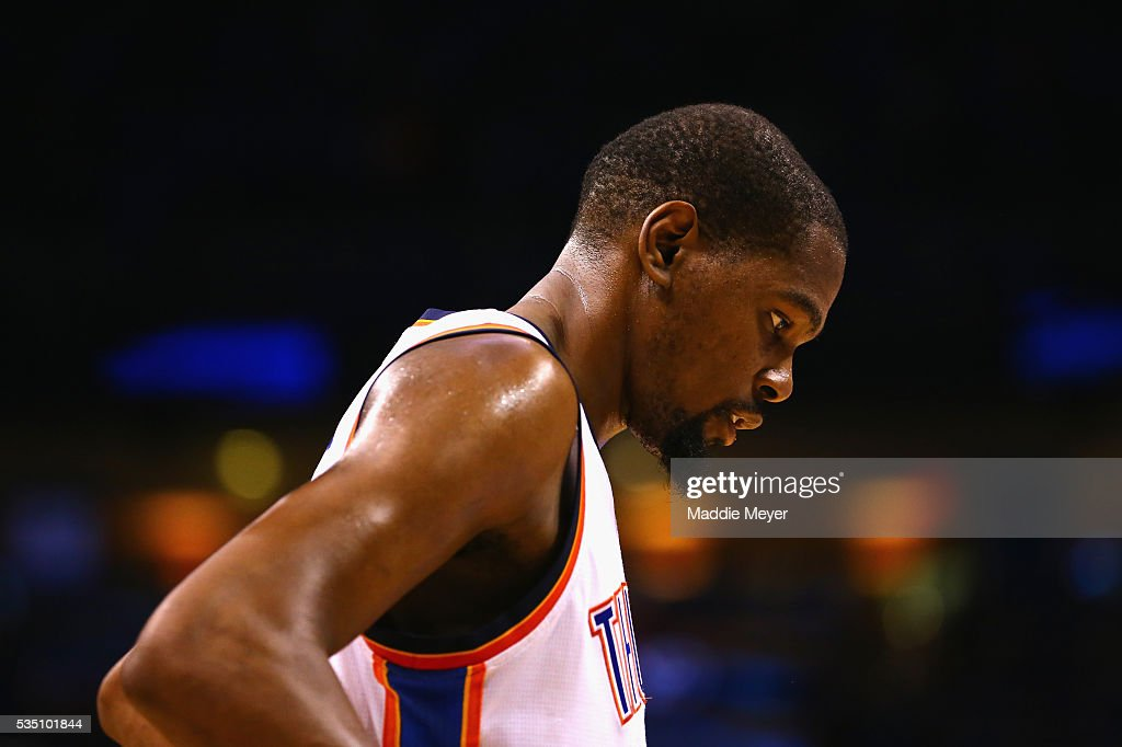 <a gi-track='captionPersonalityLinkClicked' href=/galleries/search?phrase=Kevin+Durant&family=editorial&specificpeople=3847329 ng-click='$event.stopPropagation()'>Kevin Durant</a> #35 of the Oklahoma City Thunder reacts during the fourth quarter against the Golden State Warriors in game six of the Western Conference Finals during the 2016 NBA Playoffs at Chesapeake Energy Arena on May 28, 2016 in Oklahoma City, Oklahoma.