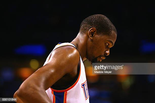 Kevin Durant of the Oklahoma City Thunder reacts during the fourth quarter against the Golden State Warriors in game six of the Western Conference...